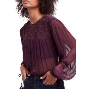 NWT Free People Embroidered Femme Sheer Blouse